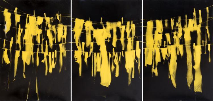 Tammy Azzam, Untitled, Laundry series, 2011, mixed media on canvas, 100 x 210 cm